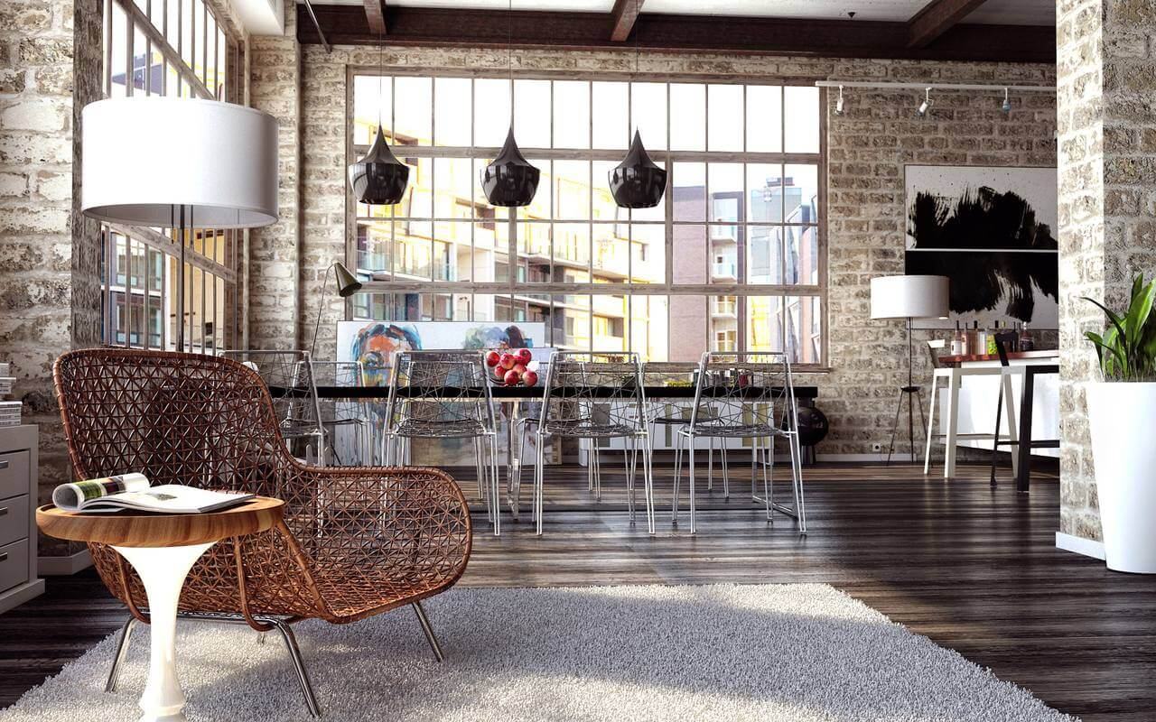 Modern-interior-in-loft-style-Dining-place